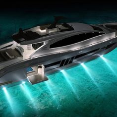 SUPERB YACHTS - luxury yacht... With beautiful lights under the sea...