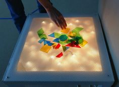 The Dynamic Duo: Building A Sensory Light Table (on the cheap!) Pinned by SOS… Diy Sensory Board, Sensory Wall, Baby Sensory, Sensory Bins, Sensory Activities, Sensory Bottles, Diy Sensory Toys, Dementia Activities, Sensory Room Autism