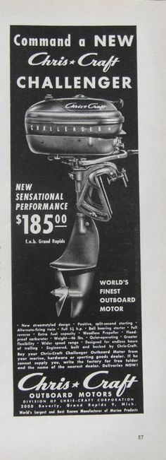 Ad for Chris-Craft outboard motor, 2000 Beverly (now 2000 Beverly SW, Wyoming) - 1949