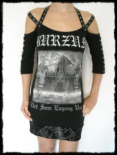 I want to learn how to do things like this with old shirts!!!  Burzum Det Som Engang Var Mini Dress Halter S