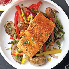 Lemon-Lime Salmon with Veggie Saute Recipe -A fresh squeeze of lemon juice brightens so many flavors—acid is one of the most important influencers in how a dish tastes. If one acid is good, two is stronger: Add lemon and lime juice when you bake salmon, cooking the supporting cast of vegetables separately until crisp-tender. —Brian Hill, West Hollywood, California