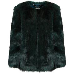 THP Shop Emerald Green Faux Fur Coat ($825) ❤ liked on Polyvore featuring outerwear, coats, jackets, fur, emerald green coat, cropped cami, imitation fur coats, cropped coat and fake fur coats