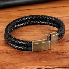 Vintage Double Layer Men's Braided Bracelet. – shopNspot Gifts For Brother, Gifts For Husband, Double Braid, Mens Braids, Braided Bracelets, Leather Buckle, Braided Leather, Meaningful Gifts, Charm Jewelry