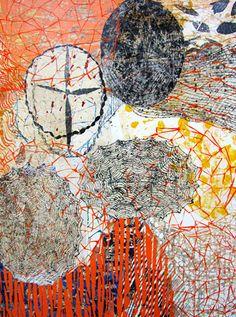 Eva Isaksen - Printmaker and Collage Artist - Seattle WA Words On Canvas, Collage Art Mixed Media, Circle Art, Collage Artists, Art Journal Inspiration, Printmaking, Abstract Art, Illustration Art, Male Artists