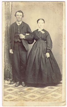 Standing Husband and Wife in Bernville Pennsylvania by C.G. Blatt 1860's CDV