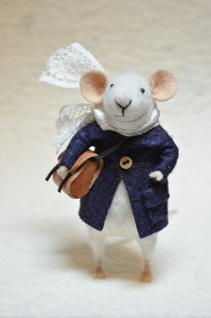 needle felt mouse . adorable. The Little Dressy Traveler Mouse with coat and  by feltingdreams, $68.00
