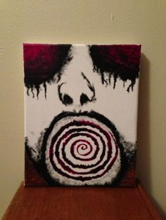 Original Acrylic Spiral Face Painting on Hanging Canvas Horror Gothic Odd on Etsy, $12.00