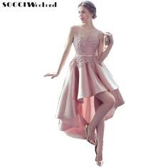 8f5634df324f SOCCI Weekend Elegant Prom Dress Pink Lace Satin Women Bridal Gowns High  Low Formal Wedding Party