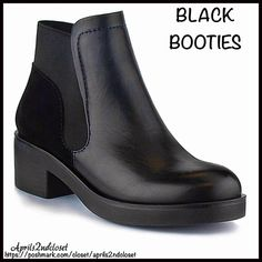 """❗️1-HOUR SALE❗️BOOTS Black Ankle Booties 💟NEW WITH TAGS💟  RETAIL PRICE: $80   BOOTS Black Short Ankle Booties  DETAILS:   * Round toe   * Dual side goring   * Solid black   * Slip on style   * Stacked 2"""" high heels, approx 5"""" shaft & 7"""" opening   * True to size   Material: Manmade upper & sole  Color: Black Item#B94400  🚫No Trades🚫 ✅ Offers Considered*✅  *Please use the blue 'offer' button to submit an offer. Mi.im Shoes Ankle Boots & Booties"""