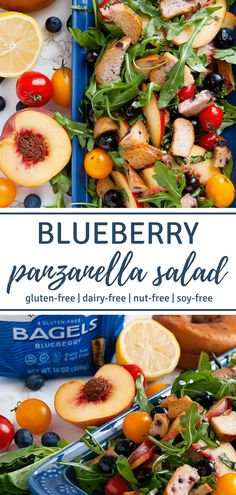 #sponsored Toasted gluten-free blueberry bagel chips bring loads of flavor to this fresh Blueberry Panzanella Salad that's great for gluten-free brunches and picnics! | #glutenfree #dairyfree #nutfree #healthyrecipes #salad | Nutrition to Fit