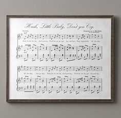Antique Sheet Music - Hush Little Baby