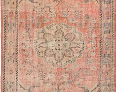 """5'8"""" x10'0""""  Vintage Turkish Peachy Orange with Blue and Green Accent Rug"""