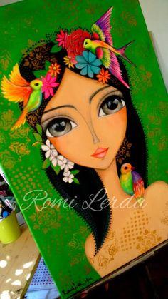 """Three Birds"" 60 x 🐦 Mexican Art, Whimsical Art, Art Plastique, Portrait Art, Face Art, Indian Art, Doodle Art, Art Tutorials, Art Pictures"