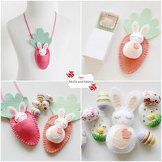 Sew these sweet little felt bunnies with a carrot sleeping bag with this fun, easy Easter DIY pattern. They can also be made into a necklace. Perfect chocolate-free treat for Easter! Easter Crafts, Felt Crafts, Diy And Crafts, Crafts For Kids, Felt Bunny, Easter Bunny, Easter Sale, Easter Tree Decorations, Tiny Bunny