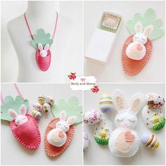(10) Name: 'Embroidery : BITTY BUNNIES Felt Easter bunny & carrot