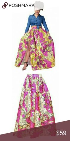 [L | XL] ❤ African Print Maxi Skirt Black History month is nationally celebrated during the month of February. This Ankara African print skirt is chic and can be styled with many different looks. Maxi skirt cut with a front slit. Material is 95% poly 5% spandex. High waist fit. Breaux-Mode Skirts Maxi