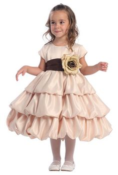 $70.00 Champagne tiered flower girl dress
