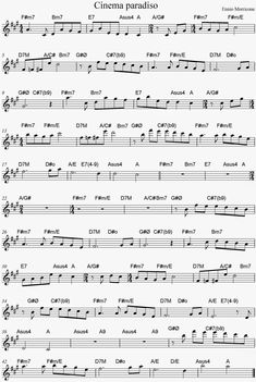 PARTITURA DE CINEMA PARADISO CON ACORDES SHEET MUSIC AND CHORDS Mais