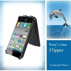 Amazon.com: KaysCase Flipper Leather Cover Case for iPhone 5, Retail Packaging (Black)