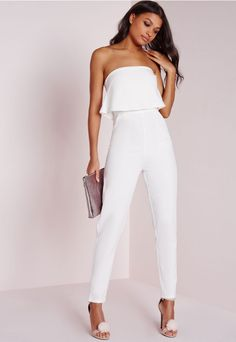 in crisp white, this chic and elegant jumpsuit is the perfect piece for effortless style with zero effort required, we like. featuring back zip fastening, overlay detail and front pockets, wear with black heels and matching clutch bag for m...