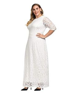 2674e8ccb380 ESPRLIA Women's Plus Size Floral Lace 3/4 Sleeve Wedding Maxi Dress ...