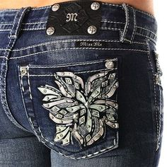 Miss Me Women's Crystal Wildflower Boot Cut Jeans