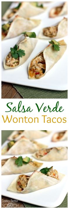 These Salsa Verde Wonton Tacos are SOO addicting and take minutes to throw together! Perfect for GAME DAY! Recipe on TastesBetterFromScratch.com
