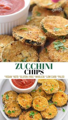 These Zucchini Chips are delicious and easy to make in your oven or air fryer. Made with an almond flour coating, they're the perfect side dish or snack to use up your garden veggies. Kid-friendly, gluten-free, low carb, keto, dairy-free with paleo, Whole30 and vegan options.