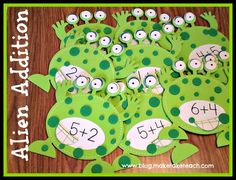 Free printable to create your own math fact alien game.  Cute math center activity for Halloween.