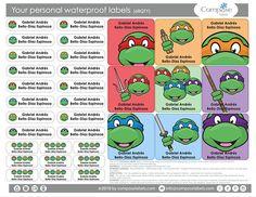 Ninja Turtles  Your personal waterproof labels 68 Qty Free