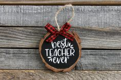New home Crafts - Best Teacher Ever Wood Slice Christmas Ornament New Home Ornament Housewarming Gift Christmas Gift Various Colors Rustic Christmas. Teacher Ornaments, Teacher Christmas Gifts, Homemade Christmas Gifts, Diy Christmas Ornaments, Christmas Signs, Rustic Christmas, Christmas Projects, Homemade Gifts, Holiday Crafts