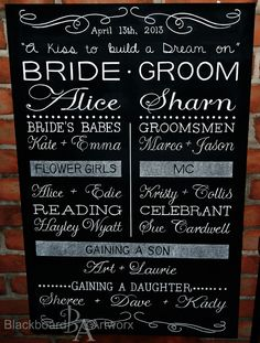 This board, plus more, has been moved to pinterest.com/bbartworx Wedding ceremony blackboard.