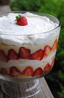 Strawberry Trifle - cheesecake pudding, strawberries, whipped cream + cake  TIP, put pudding as bottom layer, then cake chunks, fruit, pudding, whipped cream and repeat