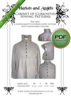 PDF Mens Victorian Shirt Sewing pattern. by Harlotsandangels