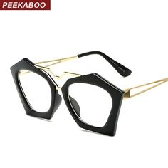Peekaboo Wholesale new vintage spectacle frames women black polygon clear  fashion glasses frames for women female 547a9ee16741