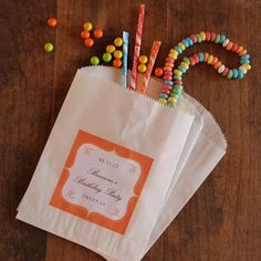 24 Favor Bags with Personalized Labels - Breanne Design - ANY COLOR - candy buffet bags, cookie buffet bags, wedding favors, party favors