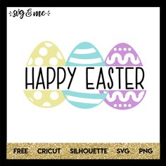 """Love this Happy Easter split monogram with pastel Easter eggs that can easily be customized however you'd like. For example, delete the """"Happy Easter"""" and add in your child's name for a personalized Easter svg. It's compatible with Cricut, Silhouette, and make sure to check out our HUGE library of FREE svgs!"""