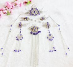Princess Hanfu Hair Accessories Headpiece Headdress Phoenix Crown Hair… Bride Hair Accessories, Head Accessories, Hanfu, Bead Jewellery, Hair Jewelry, Chinese Traditional Costume, Bridal Bangles, Chinese Clothing, Ancient Jewelry