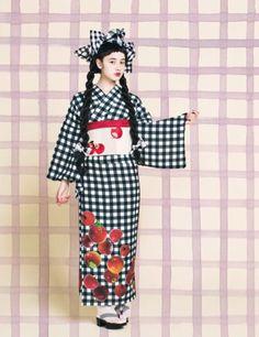 4a6196399 kawaii kimono: yukata Kimono Japan, Yukata Kimono, Kimono Dress, Japanese  Kimono,
