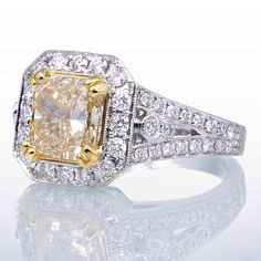 SALE Yellow Diamond GORGEOUS Radiant Cut Ring by samnsue on Etsy