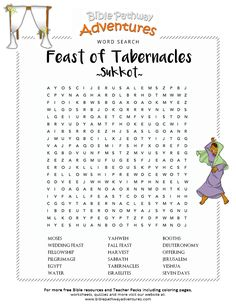 Enjoy our free Bible Word Search: Feast of Tabernacles (Sukkot). Fun for kids to print and learn more about the Bible. Feel free to share with others, too!