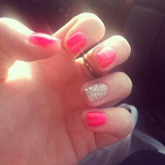 pink shellac nails!