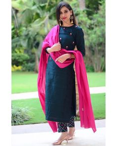 Indian designer suits - Teal & Pink Cotton Straight Salwar Suit Teal Cotton Straight Festive Best Salwar Suit Collection On Casual Look Kurta Designs Women, Kurti Neck Designs, Salwar Designs, Kurti Designs Party Wear, Indian Kurtis Designs, Cotton Kurtis Designs, Plain Kurti Designs, Latest Salwar Suit Designs, Dress Indian Style