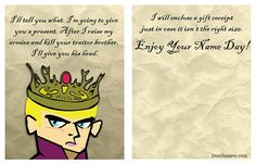 Game Of Thrones Name Day Cards 12 Birthday by TheDrewBlank
