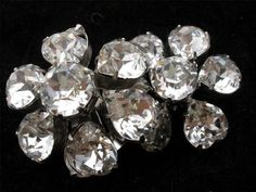 Hi End Weiss Signed Clear Heart Shaped Crystal Clip Silver tone Earrings Vintage | eBay