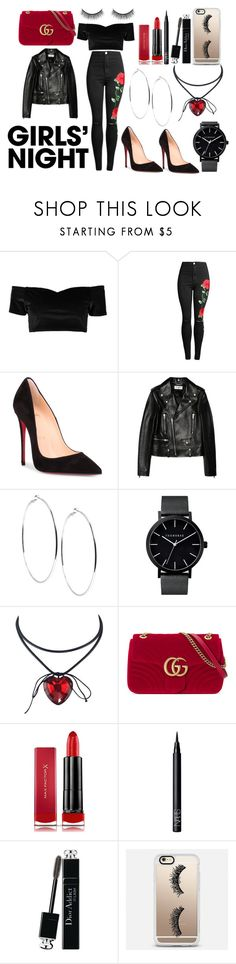 """Mya"" by afia-asamoah on Polyvore featuring Boohoo, Christian Louboutin, Yves Saint Laurent, GUESS, Gucci, Max Factor, NARS Cosmetics, Christian Dior, Casetify and Battington"