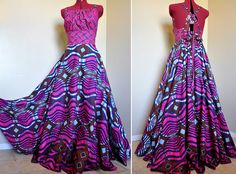Ballad of the Belle - Long African Maxi Dress, Ooak Tribal Goddess Gown, Ethnic Circle dress, Deep pinks and blues,  Best for - M to Xl