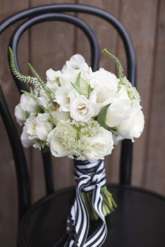 Bridal bouquet with striped ribbons | Everest Road Photography | see more on: http://burnettsboards.com/2014/05/style-bistro-wedding-reception/ #bouquet