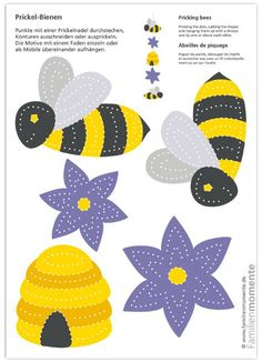 Hard-working Prickel-Bees - craft bow for tingling a mobile - Deko-Mobiles zum Prickeln - Easy Crafts For Kids, Diy For Kids, Fun Crafts, Diy And Crafts, Paper Crafts, Bee Cards, Art N Craft, Bee Theme, Pin Art