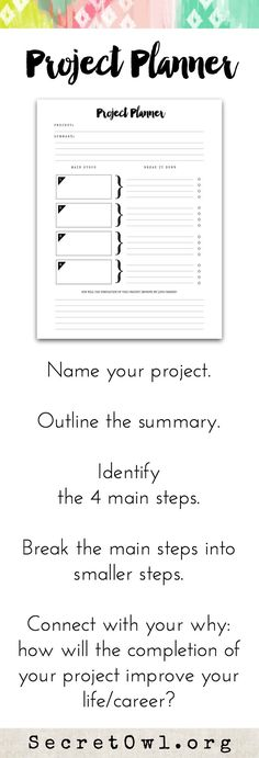 Every time you complete a project, you up-level your life. *This printable is a part of the Ultimate Life Binder.